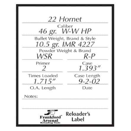 Pistol and Rifle Reloader's Labels - 100 Pack - 202364 large