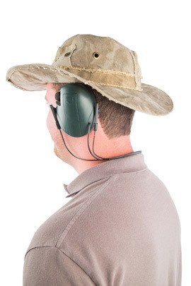 Caldwell® E-Max® Low Profile Behind the Head Electronic Hearing Protection - 487605 Action with Hat