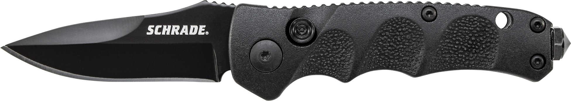 SC60MB - Schrade® Mini Push Button Lock Folding Knife Drop Point Blade