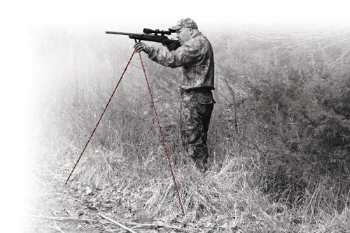 Shooting Sticks, Camo - 400567 standing action faded BW