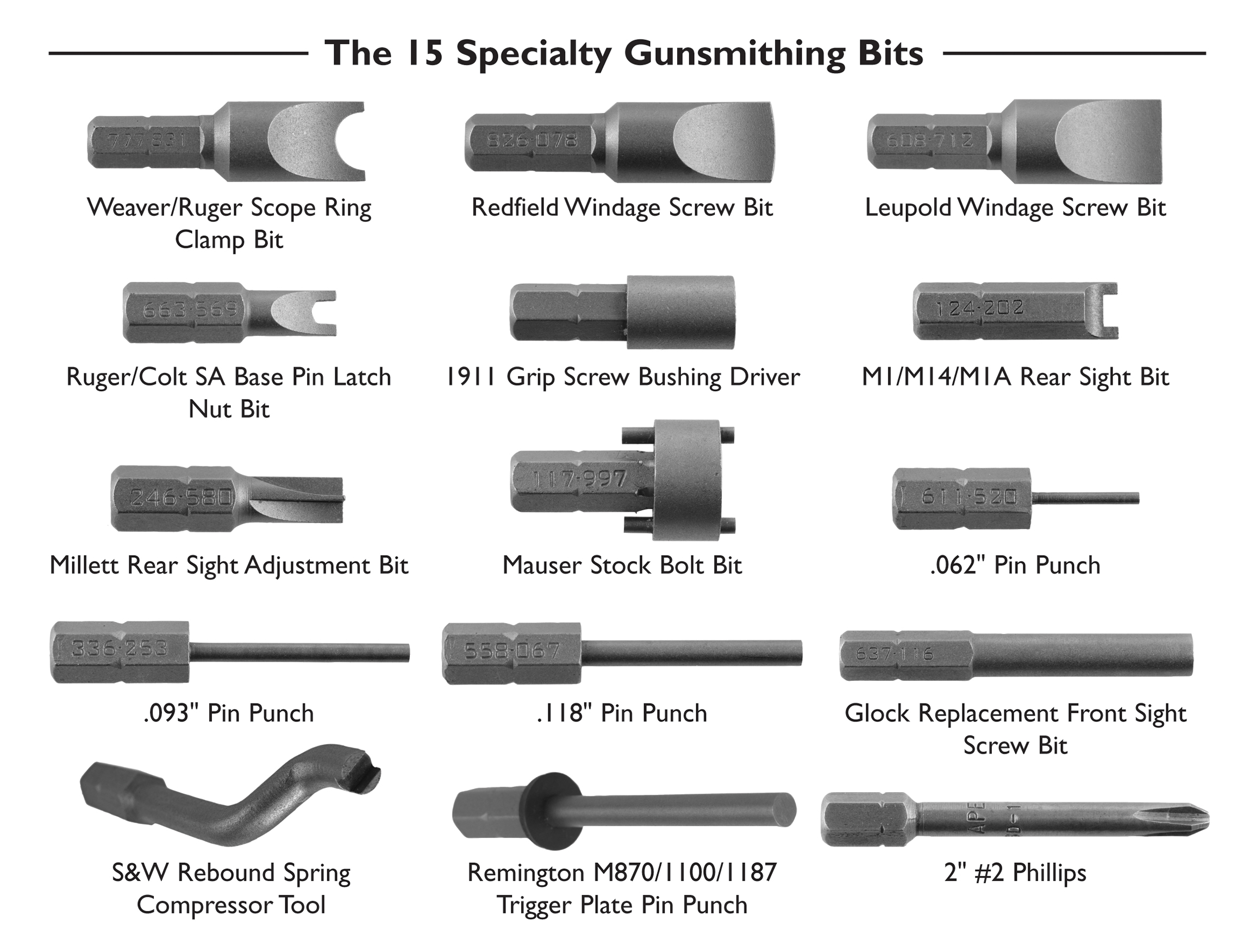Wheeler Replacement Bits - 562194 All 15 Spec Bits with Names and Header